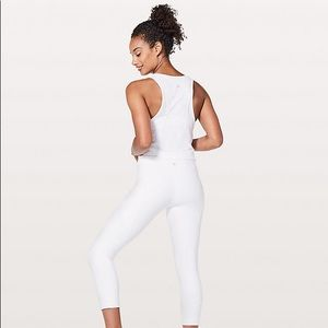 Lululemon white speed up crop leggings 🍋
